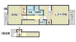 兵庫県姫路市飾磨区構3丁目の賃貸アパートの間取り