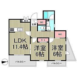 Ruscello Kamakura[201号室]の間取り