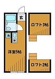 東京都小平市学園西町の賃貸アパートの間取り