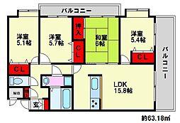 福岡県福岡市南区和田1丁目の賃貸マンションの間取り
