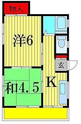 コーポ加藤[2B号室]の間取り