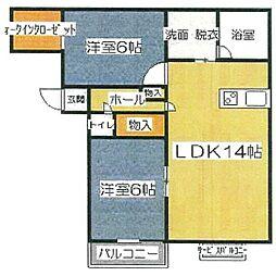 K&M濱田[202号室]の間取り