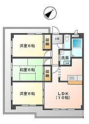 愛知県名古屋市天白区植田山3丁目の賃貸マンションの間取り