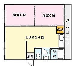 北助松マンション[4階]の間取り