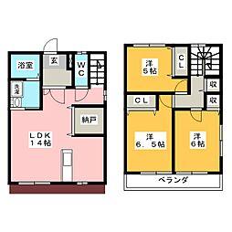 [テラスハウス] 栃木県宇都宮市竹林町 の賃貸【/】の間取り