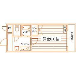 ロイヤルハイツ折尾1号館[4階]の間取り