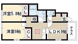 愛知県名古屋市名東区猪子石2丁目の賃貸アパートの間取り