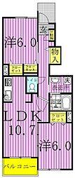 カーサ・大井B[1階]の間取り