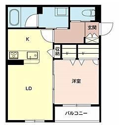 近鉄南大阪線 布忍駅 徒歩5分の賃貸アパート 2階1LDKの間取り