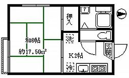 東京都板橋区赤塚2丁目の賃貸アパートの間取り