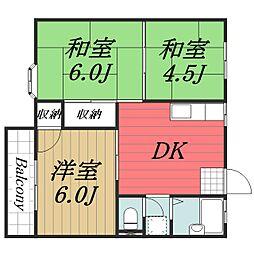 千葉県八街市八街にの賃貸アパートの間取り