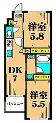 サウスコート 2階2DKの間取り