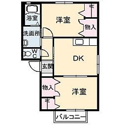 メゾンシャルマン B棟[B202号室]の間取り