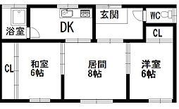 寿都町アパート 1階2LDKの間取り