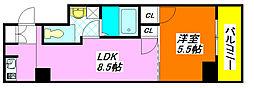 ジオ・グランデ・高井田 801号室[8階]の間取り