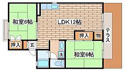 兵庫県神戸市須磨区白川台3丁目の賃貸アパートの間取り