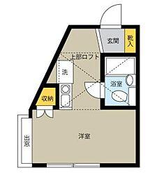神奈川県横浜市鶴見区上の宮2丁目の賃貸アパートの間取り