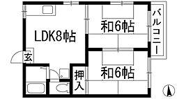 兵庫県西宮市下大市西町の賃貸マンションの間取り