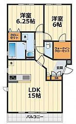 神奈川県大和市深見西2丁目の賃貸アパートの間取り