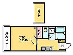 フラワーハイツF[2階]の間取り