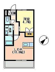 埼玉県川越市岸町3丁目の賃貸アパートの間取り