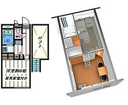東京都葛飾区新宿2の賃貸アパートの間取り
