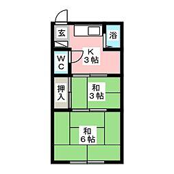 大賀コーポ[2階]の間取り