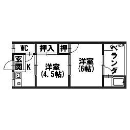 柳本荘[101号室]の間取り