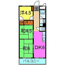 兵庫県加古川市加古川町粟津の賃貸マンションの間取り