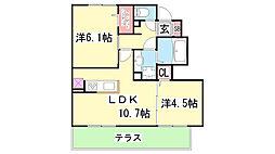 D-room杉尾台 A棟[A-102号室]の間取り