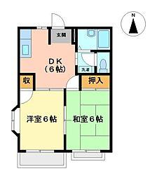 愛知県名古屋市中川区長良町2丁目の賃貸アパートの間取り