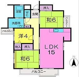 奈良県奈良市右京5丁目の賃貸マンションの間取り