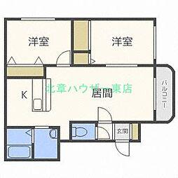 北海道札幌市東区東雁来九条1丁目の賃貸マンションの間取り