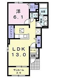 バス 郡下車 徒歩5分の賃貸アパート 1階1LDKの間取り