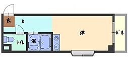 ドゥリーエム園田 2階1Kの間取り