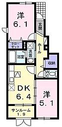 新潟県阿賀野市外城町の賃貸アパートの間取り