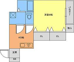 グランドソレイユ香里園 1階1DKの間取り