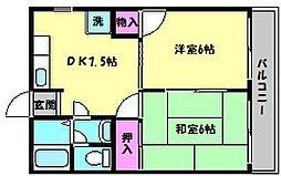 兵庫県神戸市東灘区住吉山手8丁目の賃貸アパートの間取り