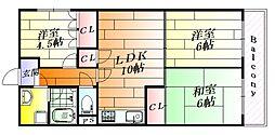 ユーハイツ千里[3階]の間取り