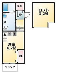 近鉄南大阪線 今川駅 徒歩5分の賃貸アパート 2階ワンルームの間取り