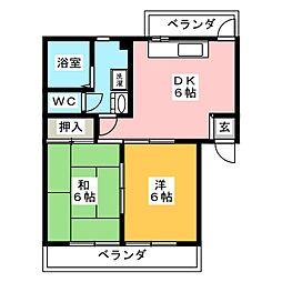 オラシオン南八幡B[3階]の間取り