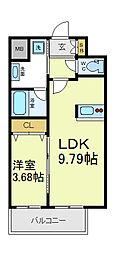 ローリア田辺 8階1LDKの間取り