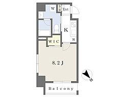 ストロベリーフィールズ広尾 4階1Kの間取り