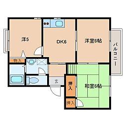 奈良県橿原市栄和町の賃貸アパートの間取り
