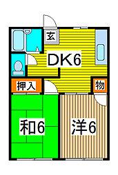 埼玉県さいたま市浦和区上木崎6丁目の賃貸アパートの間取り