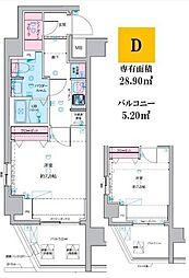 東京メトロ丸ノ内線 荻窪駅 徒歩14分の賃貸マンション 5階1Kの間取り
