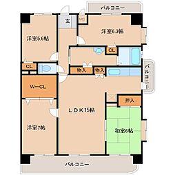ツインタワー久留米[8階]の間取り