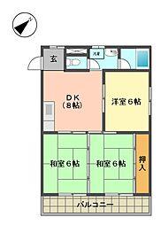 愛知県名古屋市名東区勢子坊1丁目の賃貸マンションの間取り