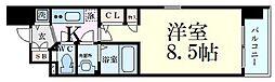 Osaka Metro堺筋線 長堀橋駅 徒歩4分の賃貸マンション 6階1Kの間取り