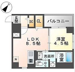 西鉄天神大牟田線 西鉄平尾駅 徒歩4分の賃貸マンション 2階1LDKの間取り